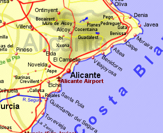 Map of Costa Blanca