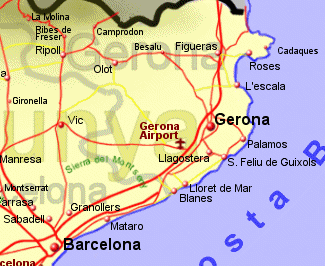 Map of Costa Brava, Spain