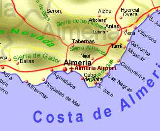Costa Almeria Map Costa de Almeria Rentals B&B and Property Sales