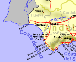 Mapa De Huelva Costa.Costa De La Luz Holiday Rentals B B And Property Sales