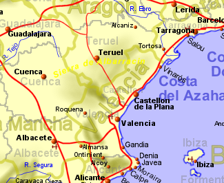 Map of Costa del Azahar