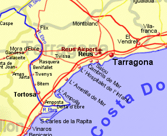 Map Of Spain Showing Salou.Costa Dorada Holiday Rentals B B And Property Sales