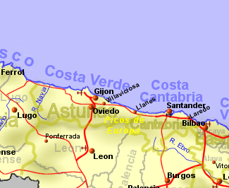 North Of Spain Map.Costa Verde Rentals B B And Property Sales The North Coast
