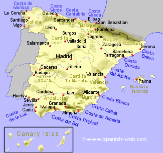 Map Of Spain Coast.The Costas Of Spain