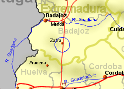 Map of the ZAFRA area, normal view