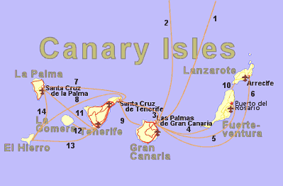 Ferry routes between the Canary Islands and from southern Spain to the islands