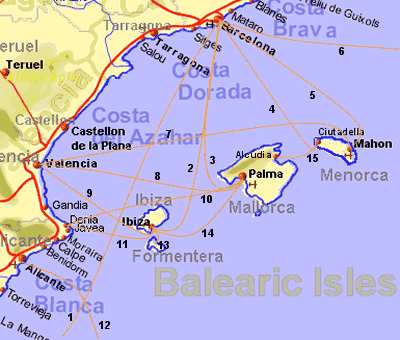 Ferry routes form eastern Spain to the Balearic Islands, between the islands, and from eastern Spain to Italy, Morocco and Algeria