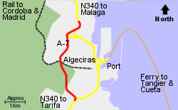 Detailed Map of Algeciras Ferry Port
