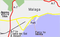 Detailed Map of Malaga Ferry Port