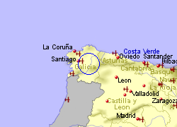 Map of the Antas de Ulla area, fully zoomed out