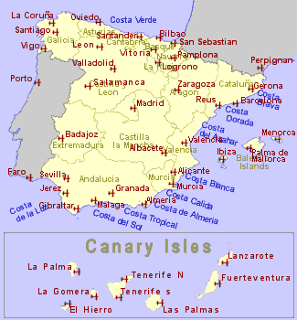 Map of Spain and Canary Isles ...