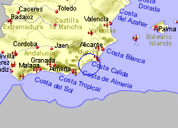 Map of the Aguilas area, fully zoomed out
