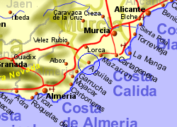 Map of the Aguilas area, normal view