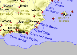 Map of the Los Alcazares area, fully zoomed out