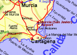 Map of the Los Alcazares area, fully zoomed in