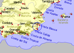 Map of the Murcia area, fully zoomed out