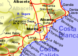 Map of the Murcia area, normal view