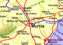 Map of the Murcia area, fully zoomed in