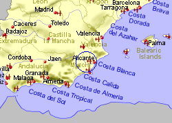 Map of the Ricote area, fully zoomed out