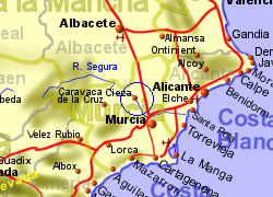 Map of the Ricote area, normal view