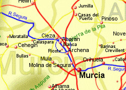 Map of the Ricote area, fully zoomed in