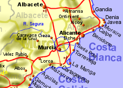 Map of the Santomera area, normal view