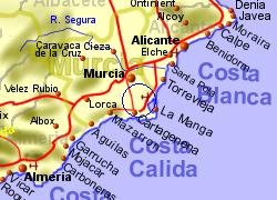 Map of the Torre Pacheco area, normal view