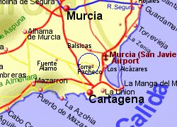 Map of the Torre Pacheco area, fully zoomed in