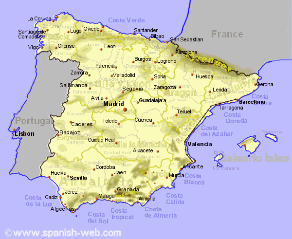 Map of Spain showing the fast ...