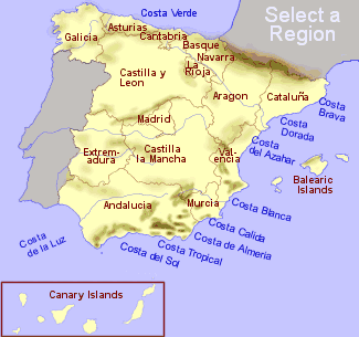 map of spain showing the regions