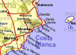 Map of the Benidorm area, normal view