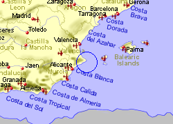 Map of the Benissa area, fully zoomed out