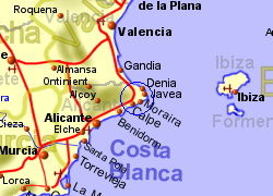 Map of the Benissa area, normal view
