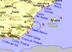 Map of the Calpe area, fully zoomed out