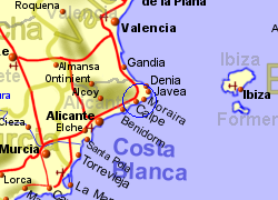 Map of the Calpe area, normal view