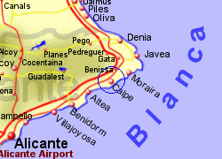 Map of the Calpe area, fully zoomed in