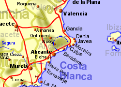 Map of the confrides area, normal view