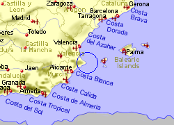 Map of the Denia Ferry Port area, fully zoomed out
