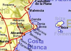 Map of the Denia Ferry Port area, normal view