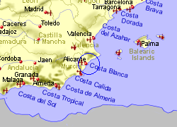 Map of the Elche area, fully zoomed out