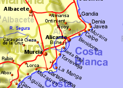 Map of the Elche area, normal view