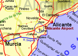 Map of the Elche area, fully zoomed in