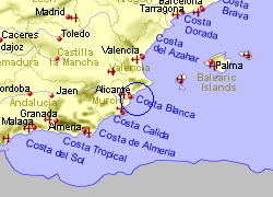 Map of the Gran Alacant area, fully zoomed out