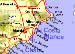 Map of the Gran Alacant area, normal view