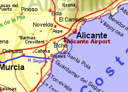 Map of the Gran Alacant area, fully zoomed in