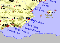Map of the Orihuela Costa area, fully zoomed out