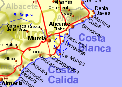Map of the Orihuela Costa area, normal view