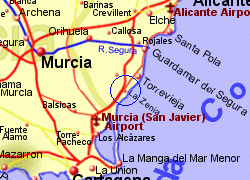 Map of the Orihuela Costa area, fully zoomed in