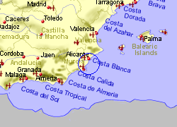 Map of the San Miguel de Salinas area, fully zoomed out
