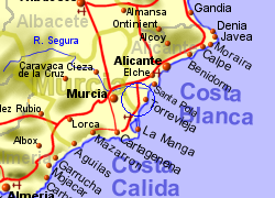 Map of the San Miguel de Salinas area, normal view